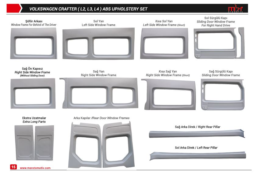 VW CRAFTER EXTRA LONG MODEL ABS UPHOLSTERY SET